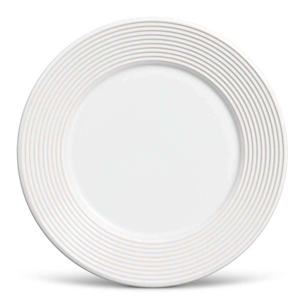 Conjunto 6 Pratos Rasos Argos Branco em Cerâmica - Ravenna - Porto Brasil - 26,5x2,8 cm