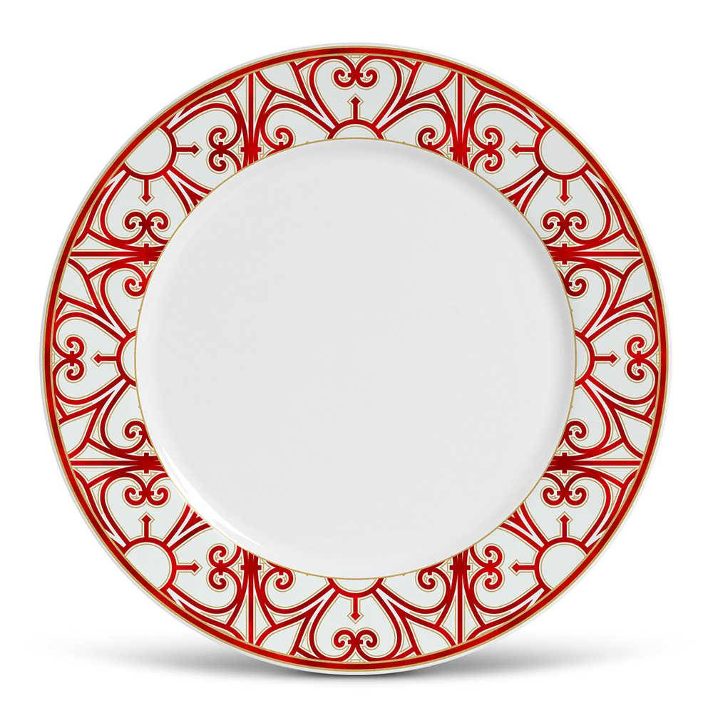 Conjunto 6 Pratos Rasos Flat Medieval em Cerâmica - Porto Brasil - 27x2,5 cm