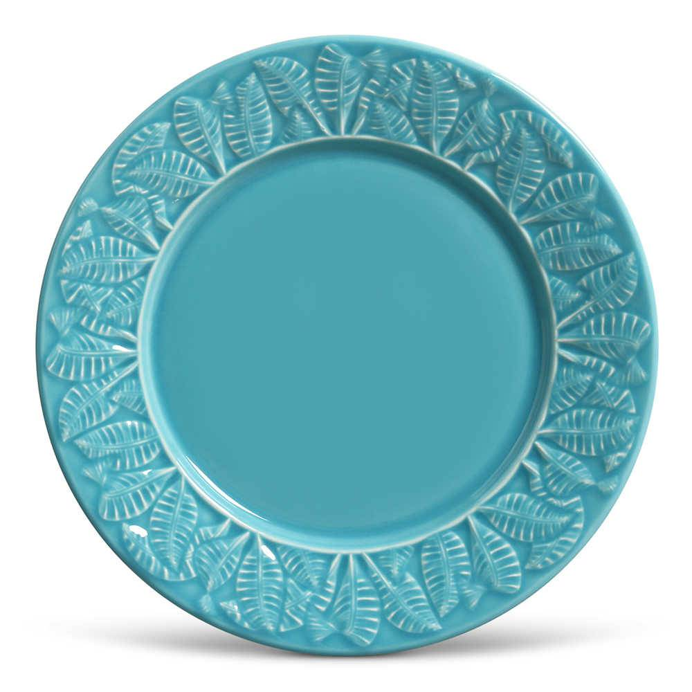 Conjunto 6 Pratos Rasos Leaves Azul Poppy em Cerâmica - Porto Brasil - 26,5x2,8 cm
