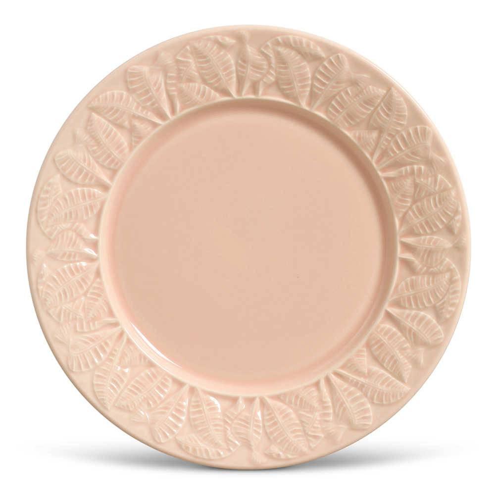 Conjunto 6 Pratos Rasos Leaves Rosa Claro em Cerâmica - Porto Brasil - 26,5x2,8 cm