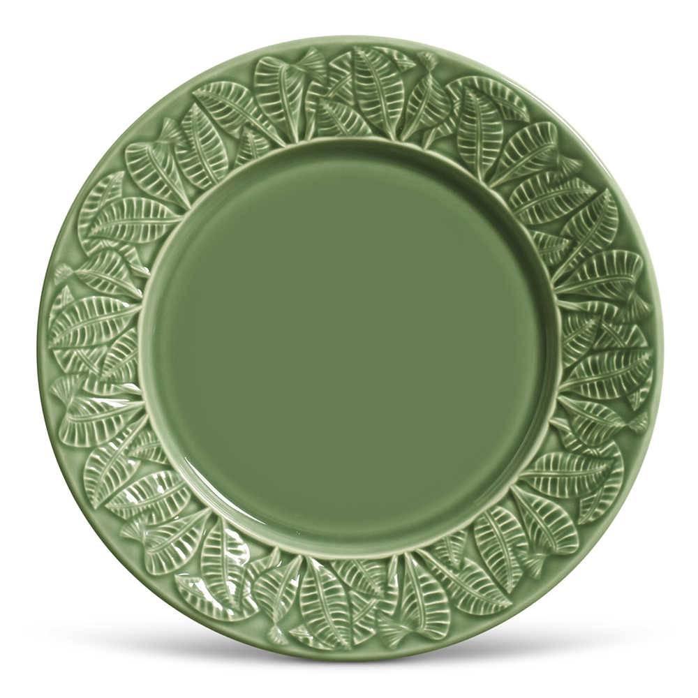 Conjunto 6 Pratos Rasos Leaves Sálvia em Cerâmica - Porto Brasil - 26,5x2,8 cm