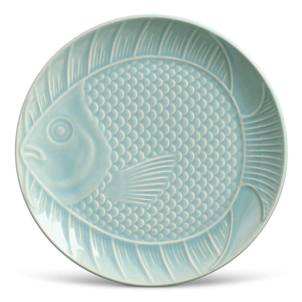 Conjunto 6 Pratos Rasos Ocean Menta em Cerâmica - Porto Brasil - 27x3 cm