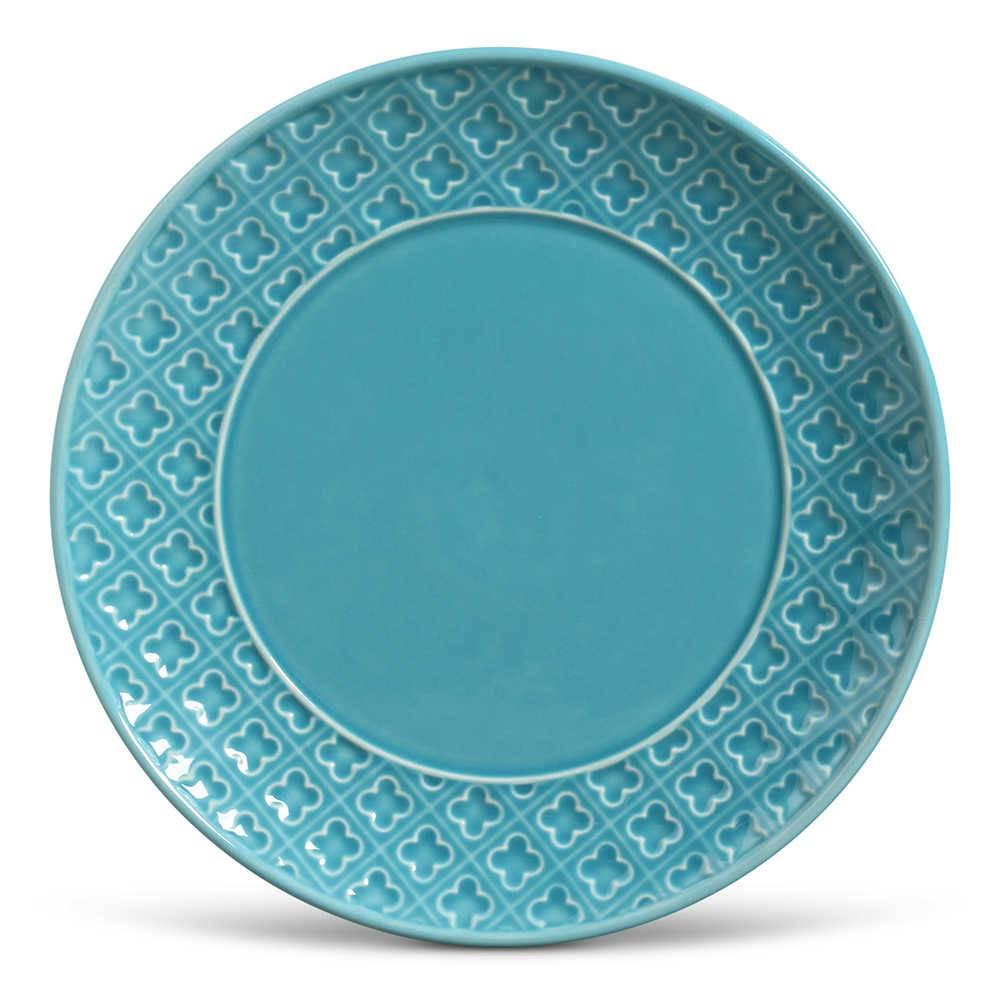 Conjunto 6 Pratos Rasos Relief Azul Poppy em Cerâmica - Porto Brasil - 27x3 cm