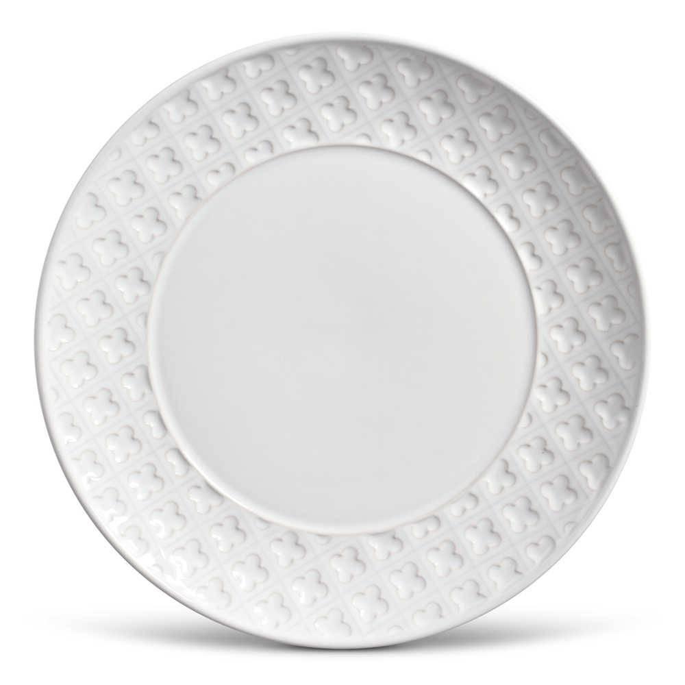 Conjunto 6 Pratos Rasos Relief Branco em Cerâmica - Porto Brasil - 27x3 cm