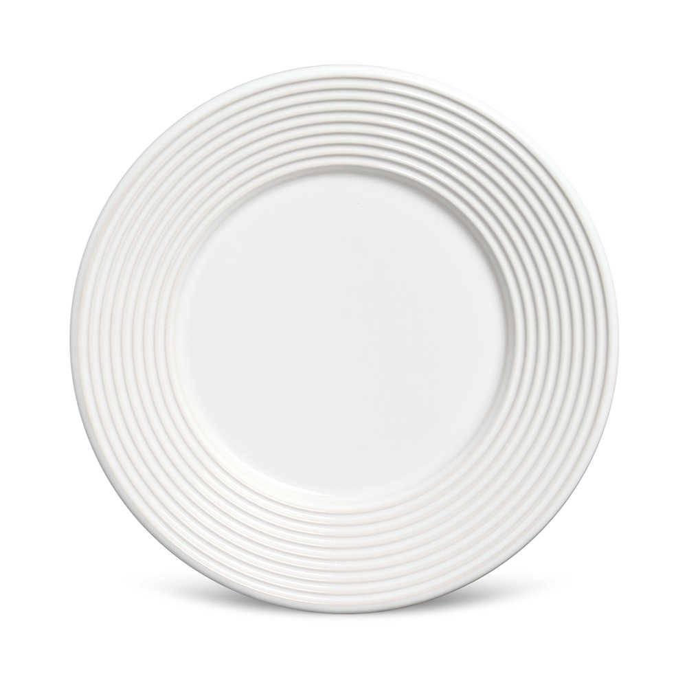Conjunto 6 Pratos de Sobremesa Argos Branco em Cerâmica - Porto Brasil - 20,5x2,7 cm