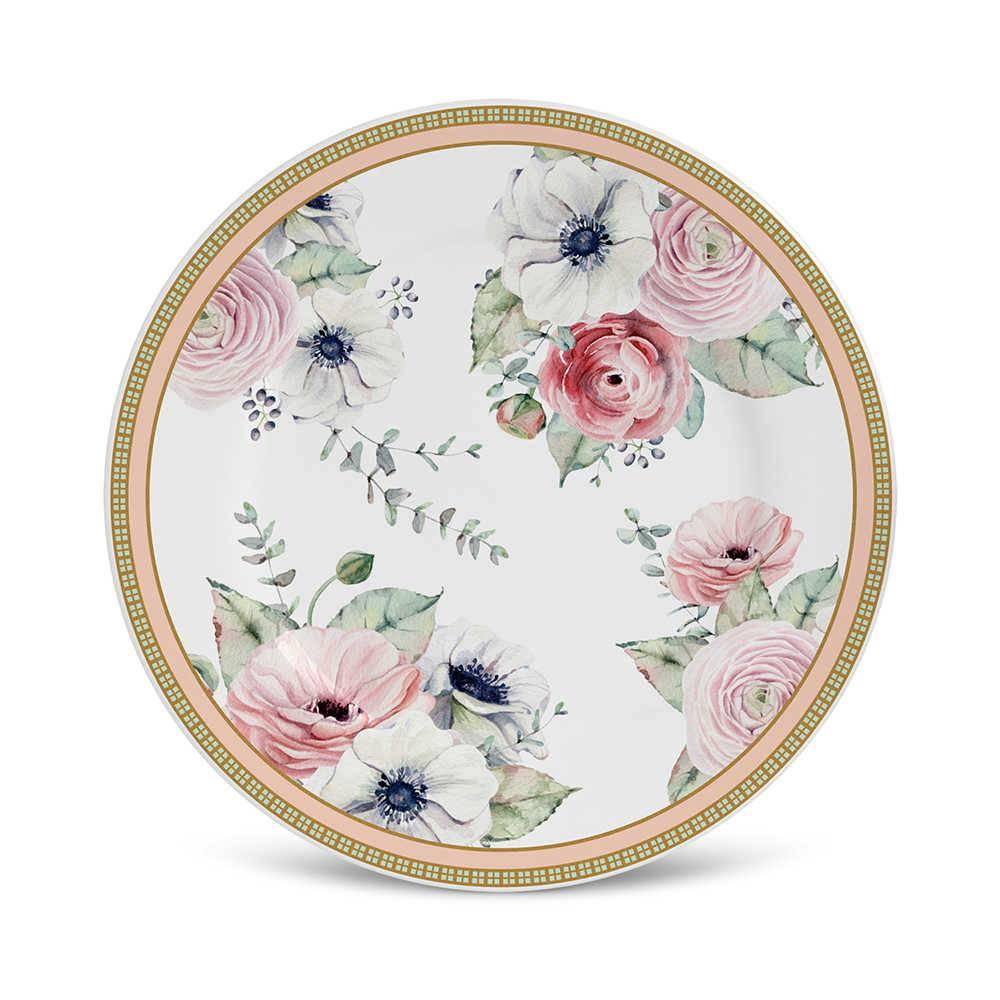 Conjunto 6 Pratos de Sobremesa Flat Amore em Cerâmica - Porto Brasil - 20,5x2 cm