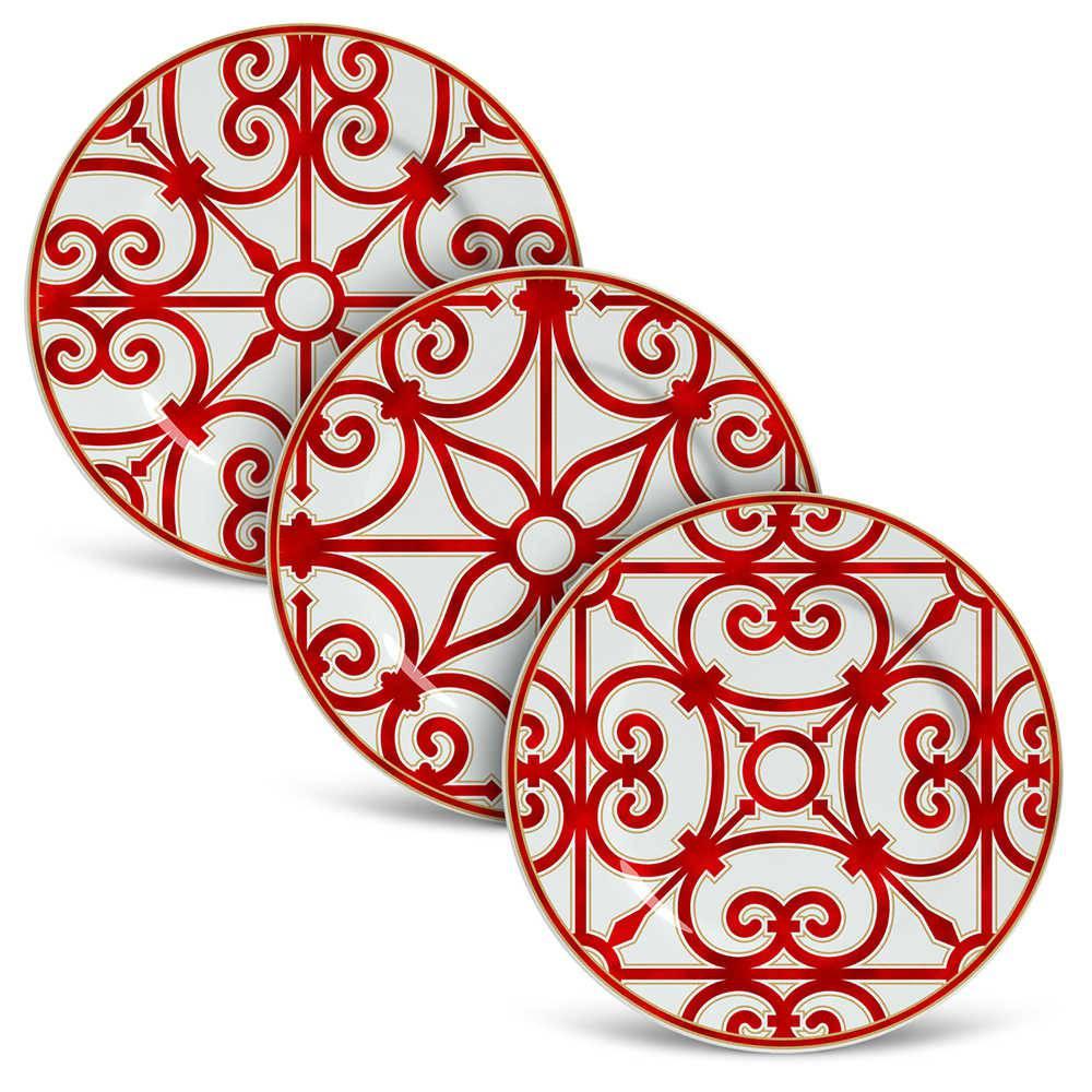 Conjunto 6 Pratos de Sobremesa Flat Medieval em Cerâmica - Porto Brasil - 20,5x2 cm