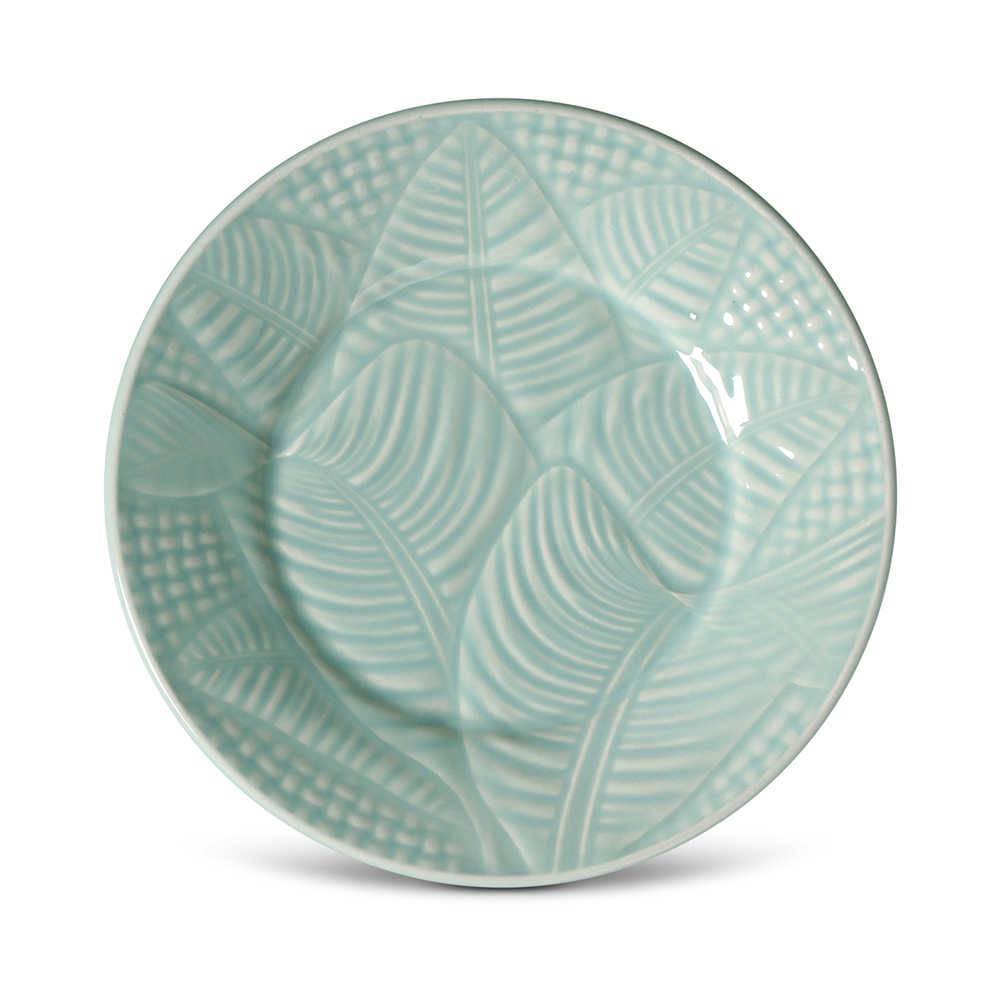 Conjunto 6 Pratos de Sobremesa Leaves Menta em Cerâmica - Porto Brasil - 20,5x2,7 cm