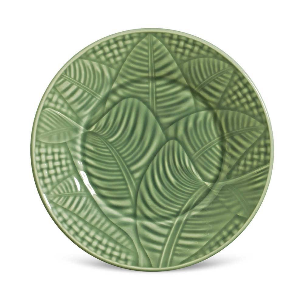 Conjunto 6 Pratos de Sobremesa Leaves Sálvia em Cerâmica - Porto Brasil - 20,5x2,7 cm