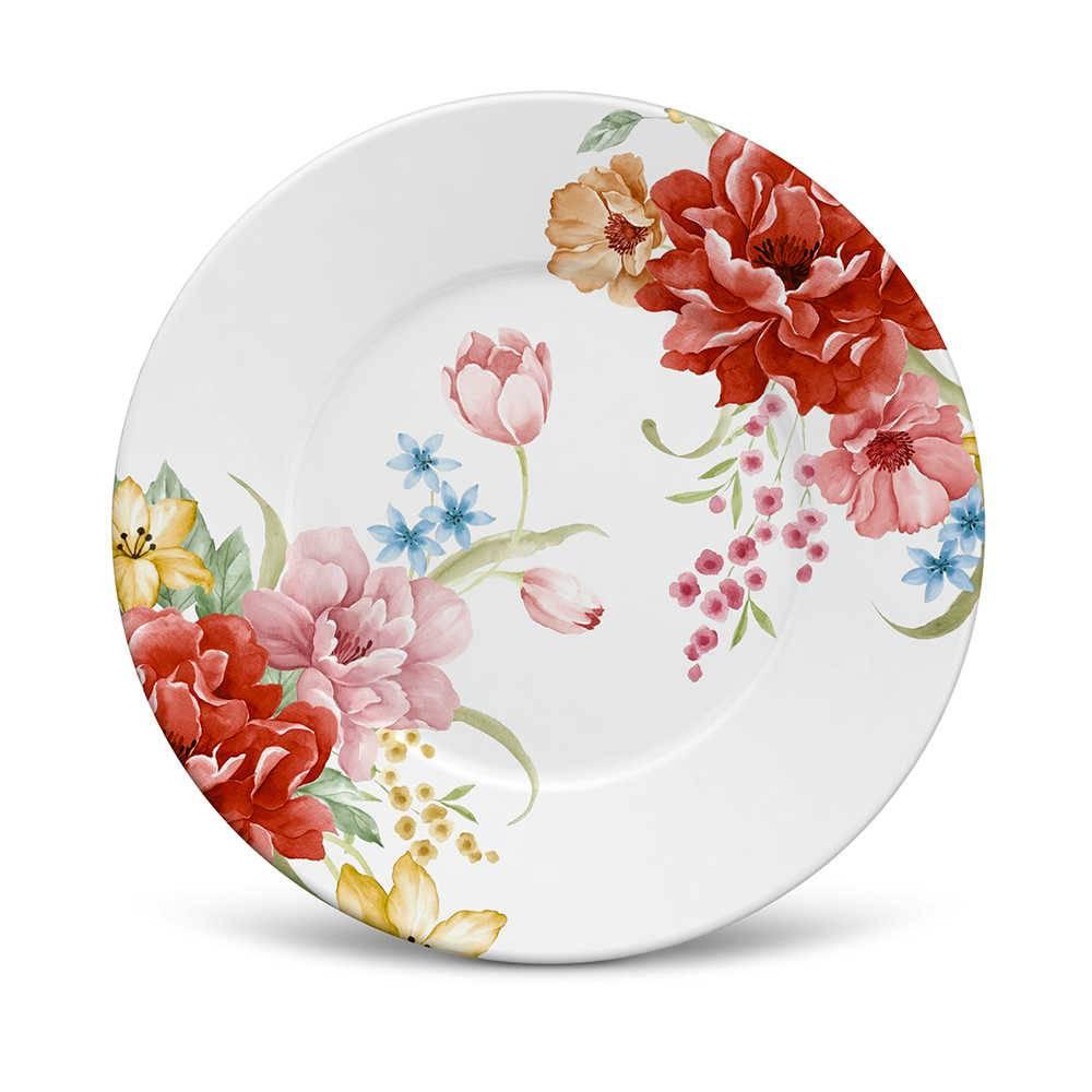 Conjunto 6 Pratos de Sobremesa Mônaco Bouquet em Cerâmica - La Tavola - Porto Brasil - 20,5x2,7 cm
