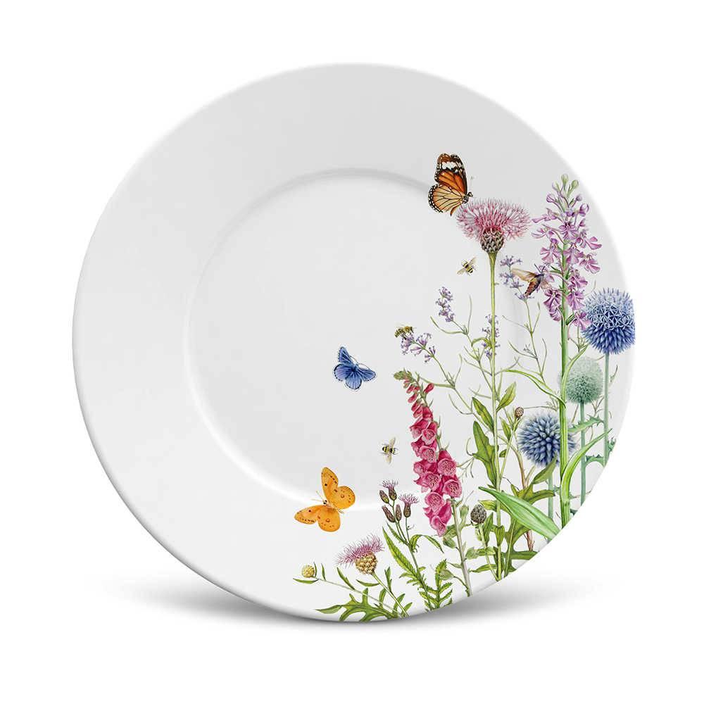 Conjunto 6 Pratos de Sobremesa Mônaco Flora em Cerâmica - La Tavola - Porto Brasil - 20,5x2,7 cm