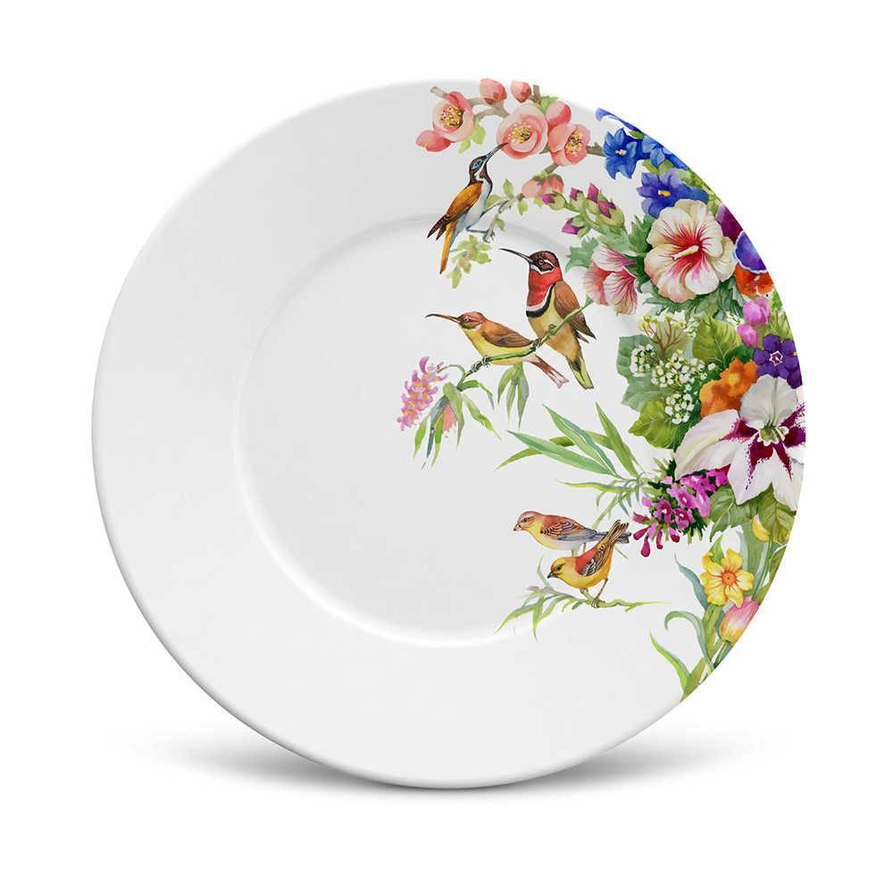 Conjunto 6 Pratos de Sobremesa Mônaco Paradise em Cerâmica - La Tavola - Porto Brasil - 20,5x2,7 cm