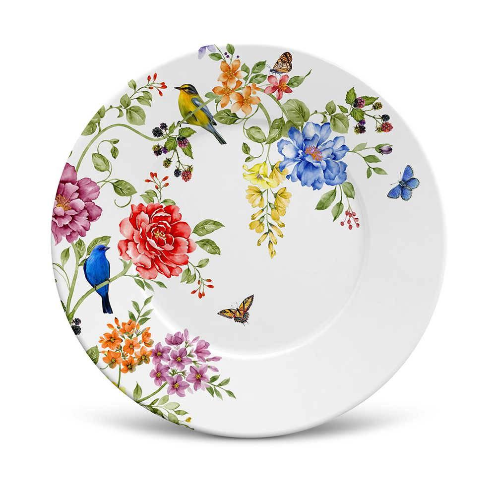 Conjunto 6 Pratos de Sobremesa Mônaco Primavera em Cerâmica - La Tavola - Porto Brasil - 20,5x2,7 cm
