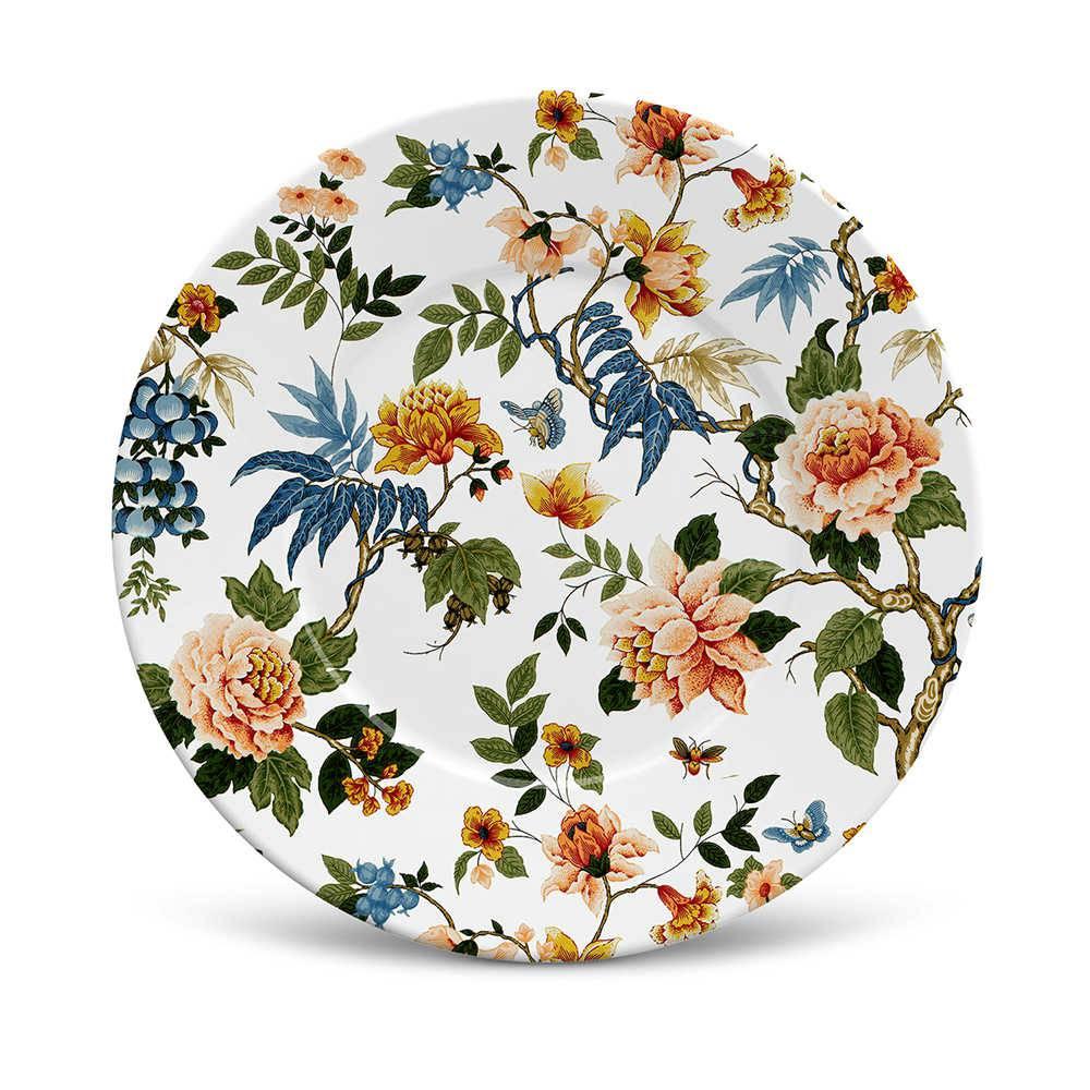 Conjunto 6 Pratos de Sobremesa Mônaco Shangai em Cerâmica - La Tavola - Porto Brasil - 20,5x2,7 cm