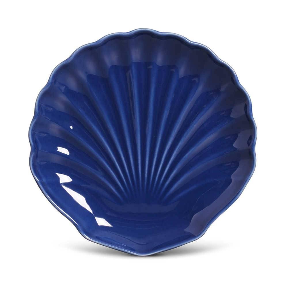 Conjunto 6 Pratos de Sobremesa Ocean Azul Navy em Cerâmica - Porto Brasil - 19,5x3 cm