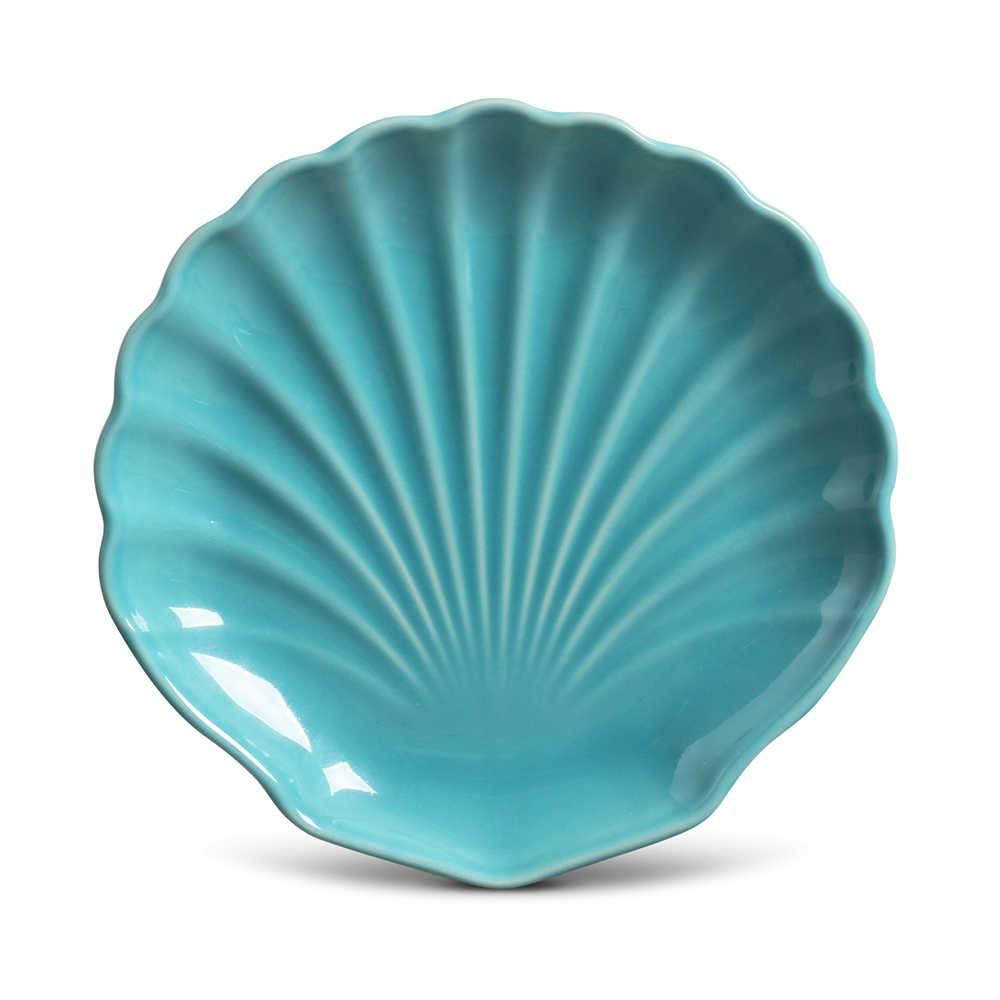 Conjunto 6 Pratos de Sobremesa Ocean Azul Poppy em Cerâmica - Porto Brasil - 19,5x3 cm
