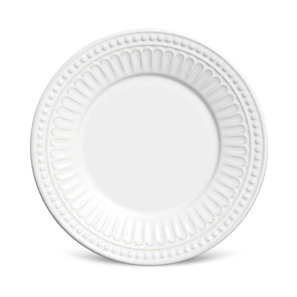 Conjunto 6 Pratos de Sobremesa Pérgamo Branco em Cerâmica - Porto Brasil - 20,5x2,7 cm