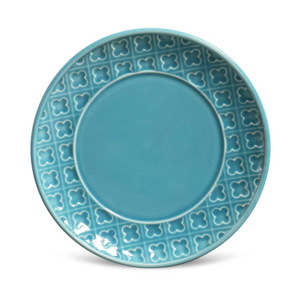 Conjunto 6 Pratos de Sobremesa Relief Azul Poppy em Cerâmica - Porto Brasil - 20x2,5 cm