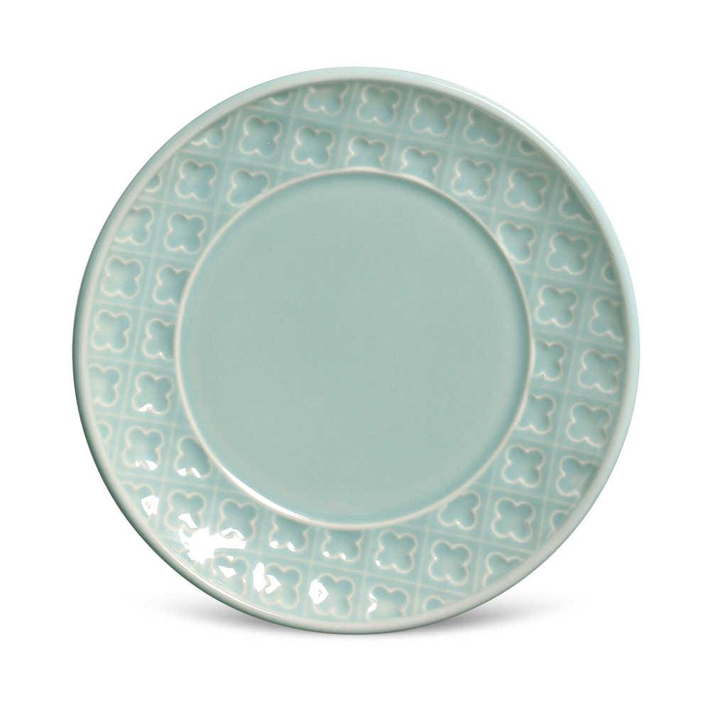 Conjunto 6 Pratos de Sobremesa Relief Verde em Cerâmica - Porto Brasil - 20x2,5 cm