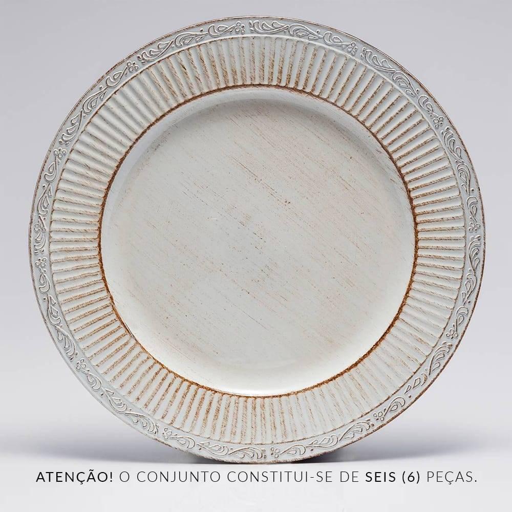 Conjunto 6 Sousplats Branco Pátina - Bon Gourmet - 33 cm