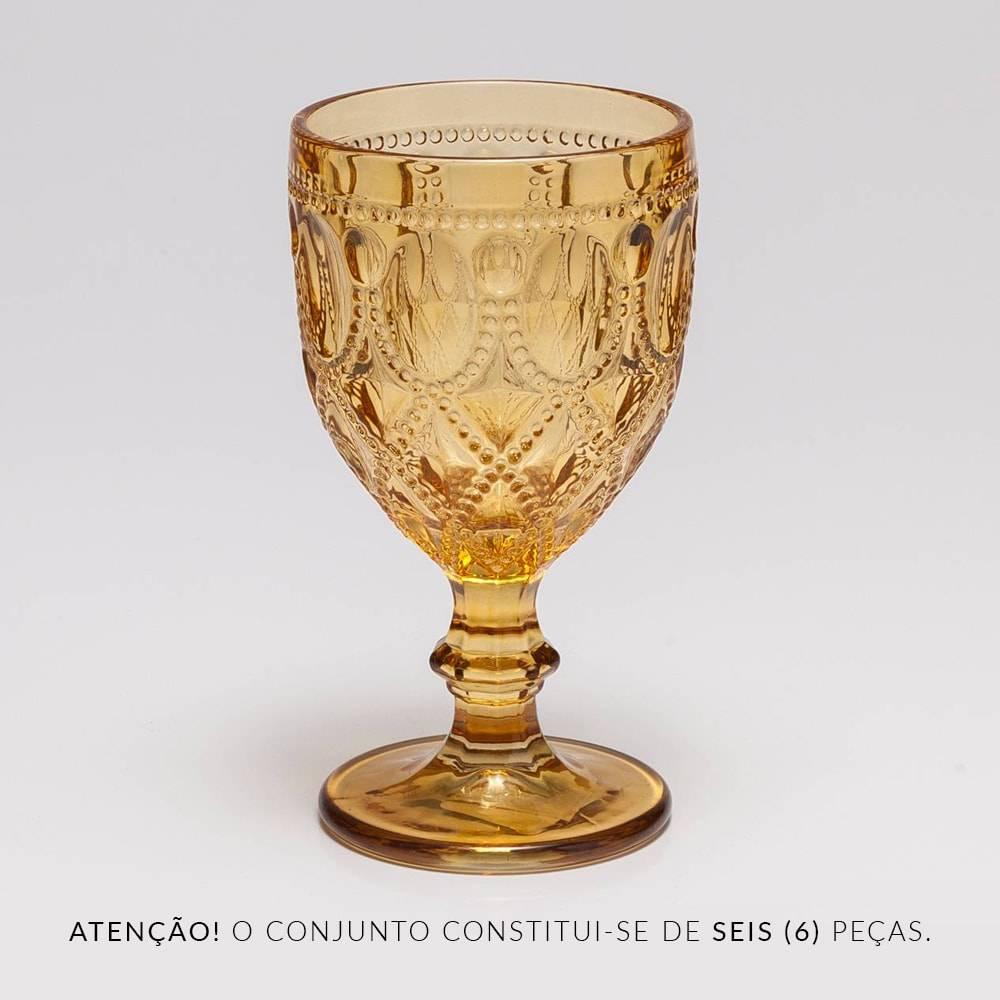 Conjunto de Taças para Água Diamond Âmbar - 6 Peças - 290 ml - em Vidro - Bon Gourmet