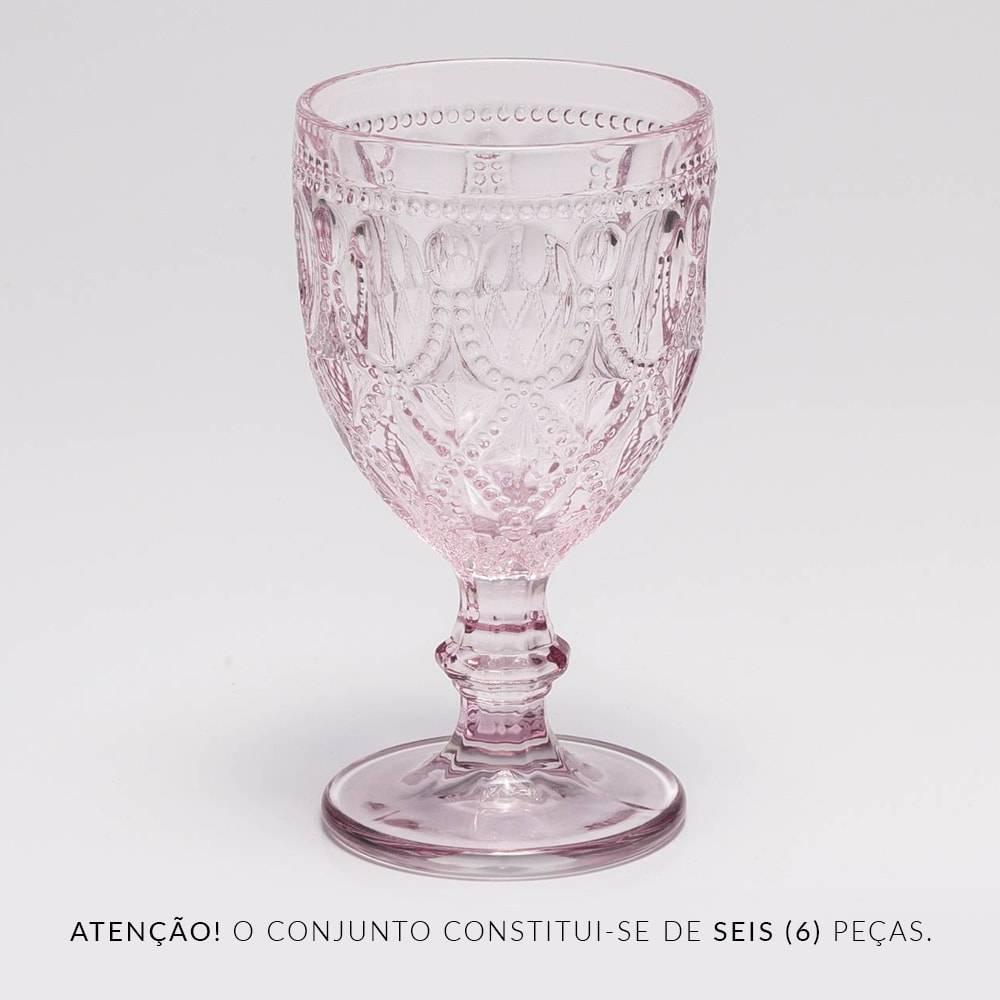Conjunto de Taças para Água Diamond Rosa - 6 Peças - 290 ml - em Vidro - Bon Gourmet