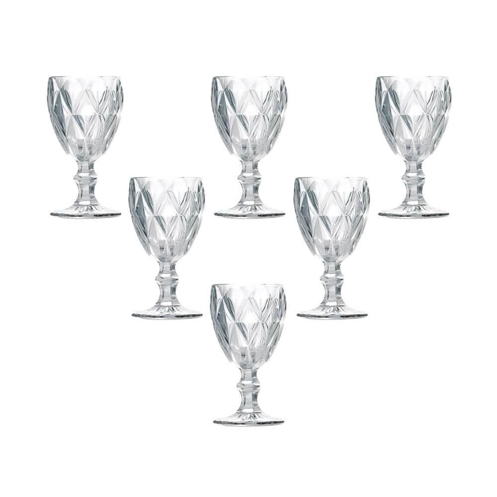 Conjunto 6 Taças para Água Diamond Transparente 260 ml em Vidro - Lyor Design - 17x8,8 cm