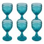 Conjunto 6 Taças para Água Shallon Azul em Vidro - 17x9 cm