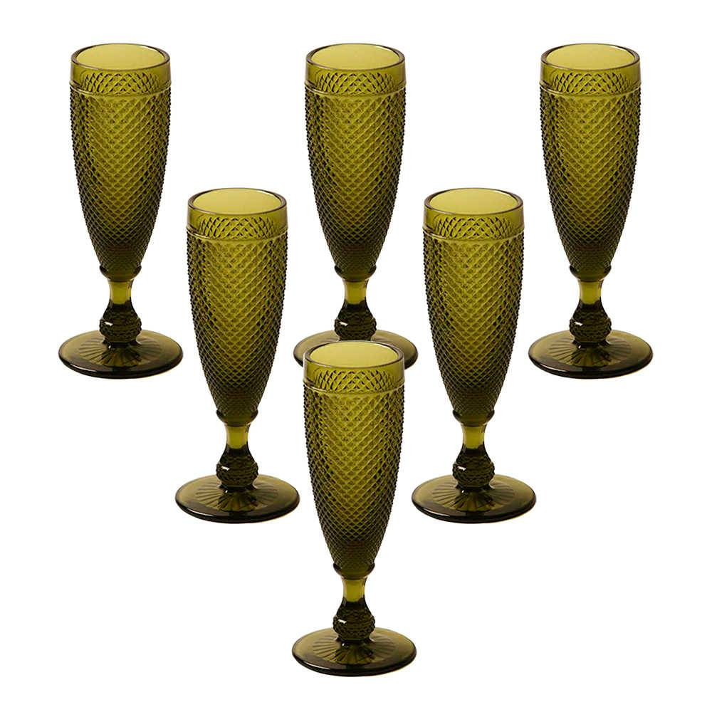Conjunto 6 Taças para Champanhe Bico de Jaca Verde Oliva em Vidro Lapidado - 18x7 cm