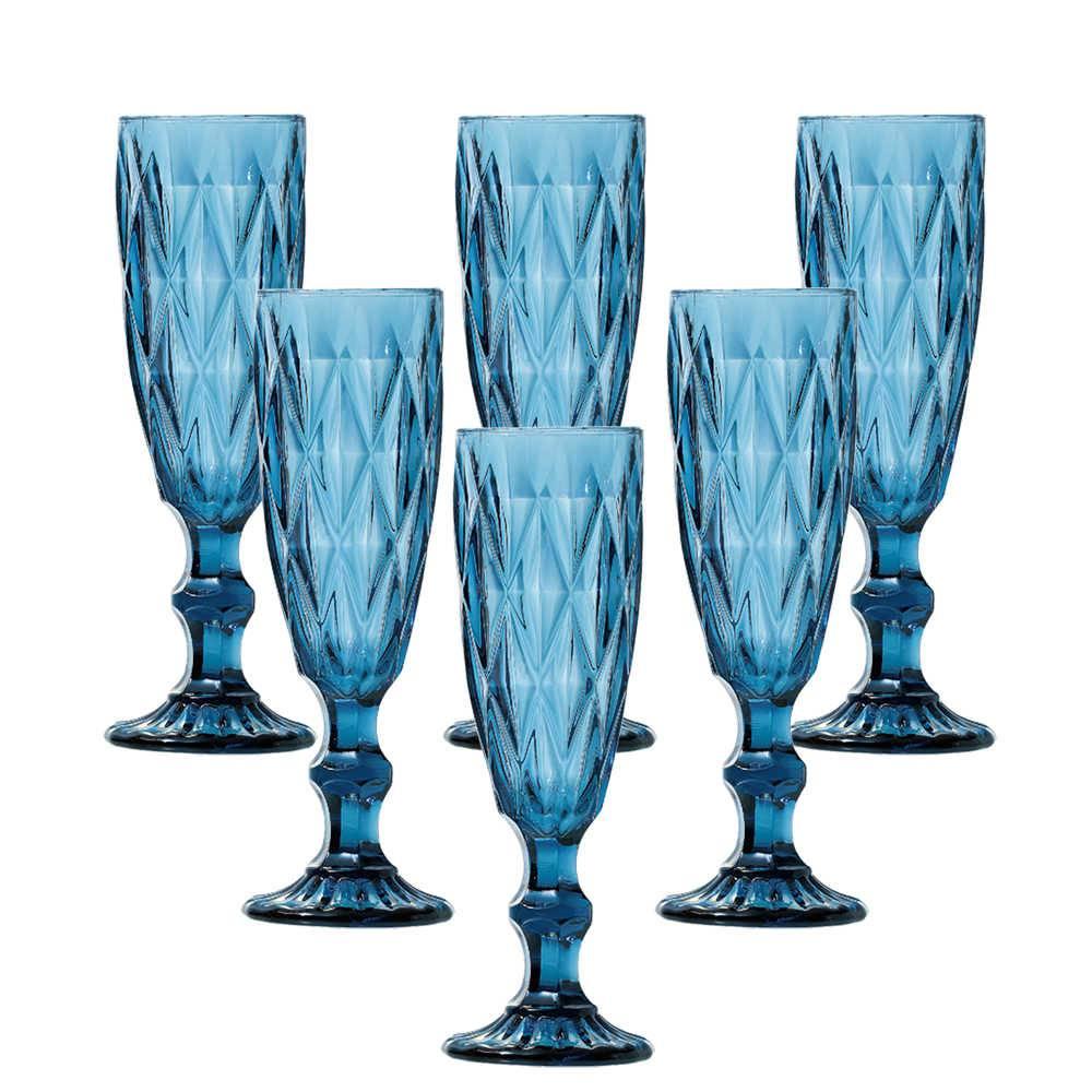 Conjunto 6 Taças para Champanhe Diamond 140 ml Azul em Vidro - Lyor Design - 19,7x7 cm