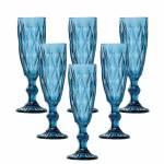Conjunto 6 Taças para Champanhe Diamond Azul - Lyor Design