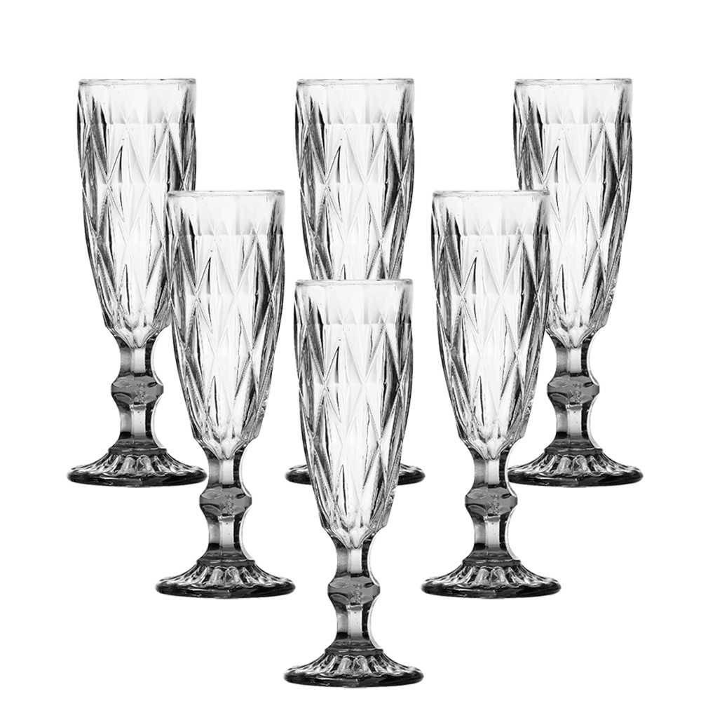Conjunto 6 Taças para Champanhe Diamond 140 ml Transparente em Vidro - Lyor Design - 19,7x7 cm