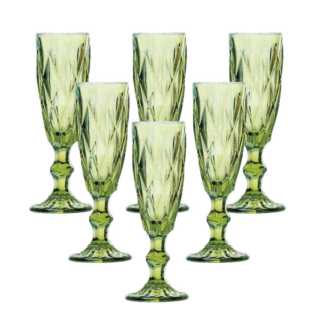 Conjunto 6 Taças para Champanhe Diamond 140 ml Verde em Vidro - Lyor Design - 19,7x7 cm