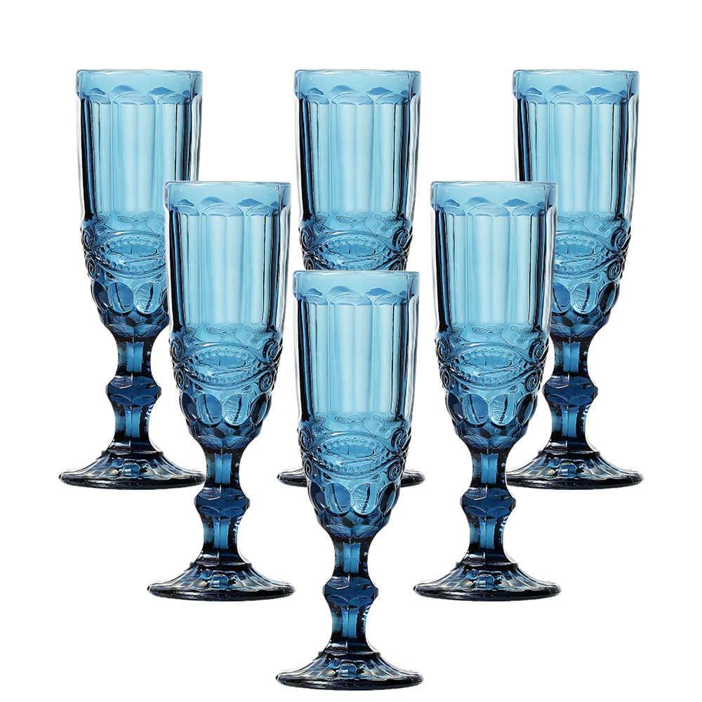 Conjunto 6 Taças para Champanhe Flash 140 ml Azul em Vidro - Lyor Design - 19,7x7 cm