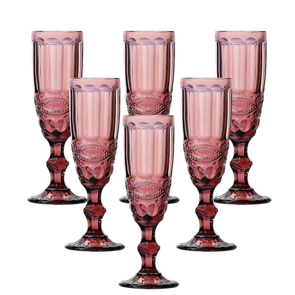 Conjunto 6 Taças para Champanhe Flash 140 ml Rosê em Vidro - Lyor Design - 19,7x7 cm