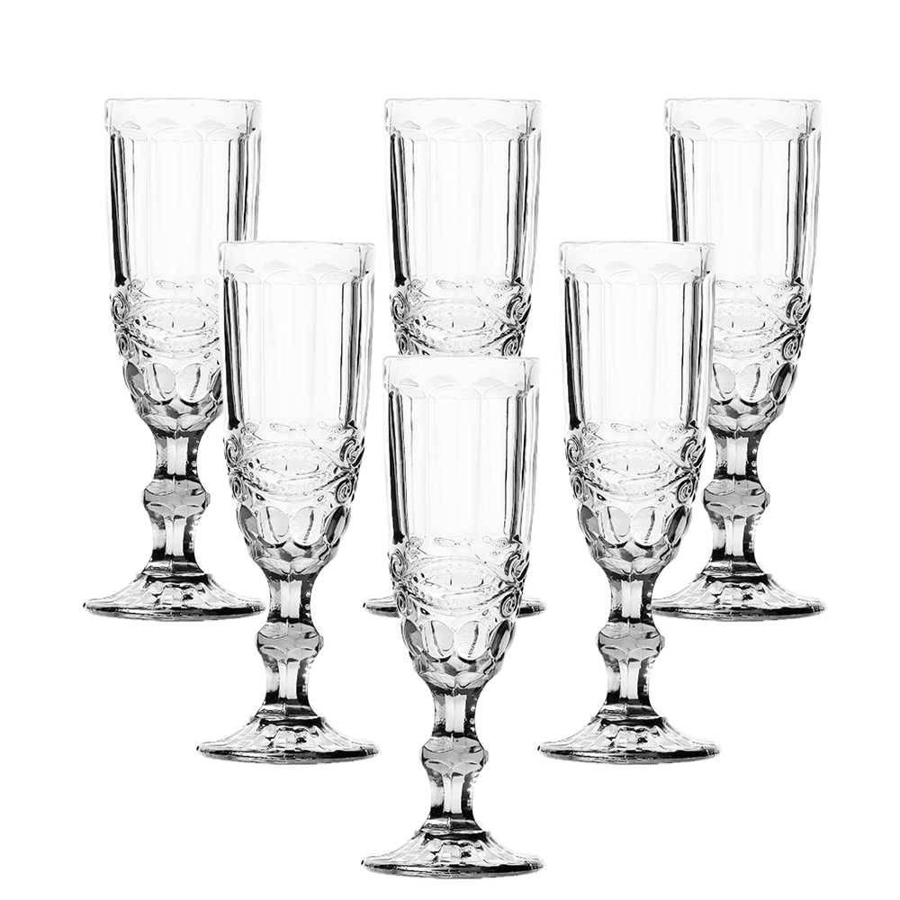 Conjunto 6 Taças para Champanhe Flash 140 ml Transparente em Vidro - Lyor Design - 19,7x7 cm