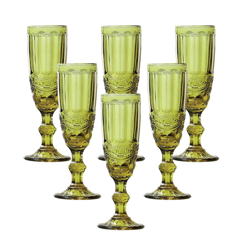 Conjunto 6 Taças para Champanhe Flash 140 ml Verde em Vidro - Lyor Design - 19,7x7 cm
