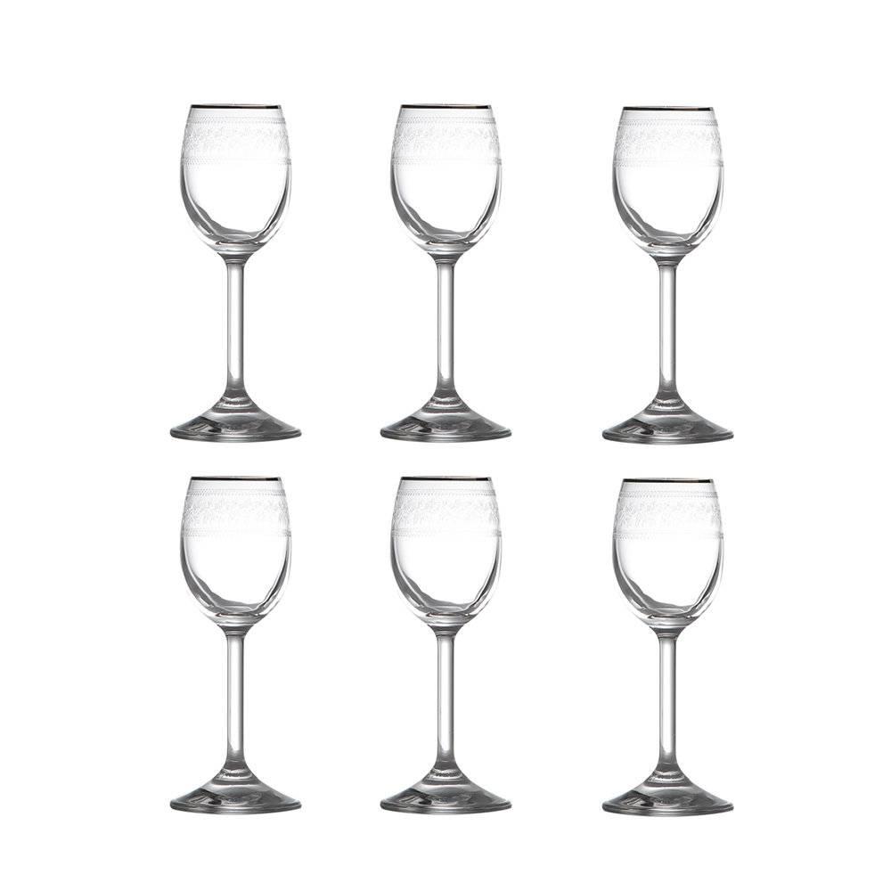 Conjunto 6 Taças para Licor Ingrid Platina em Cristal Pantografadas - 60 ml - Rona