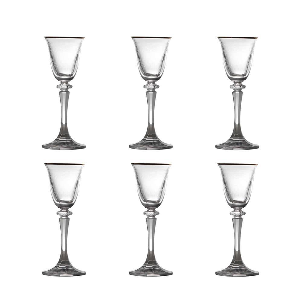 Conjunto 6 Taças para Licor Kleopatra Ouro em Cristal Pantografadas - 50 ml - Bohemia Crystalite