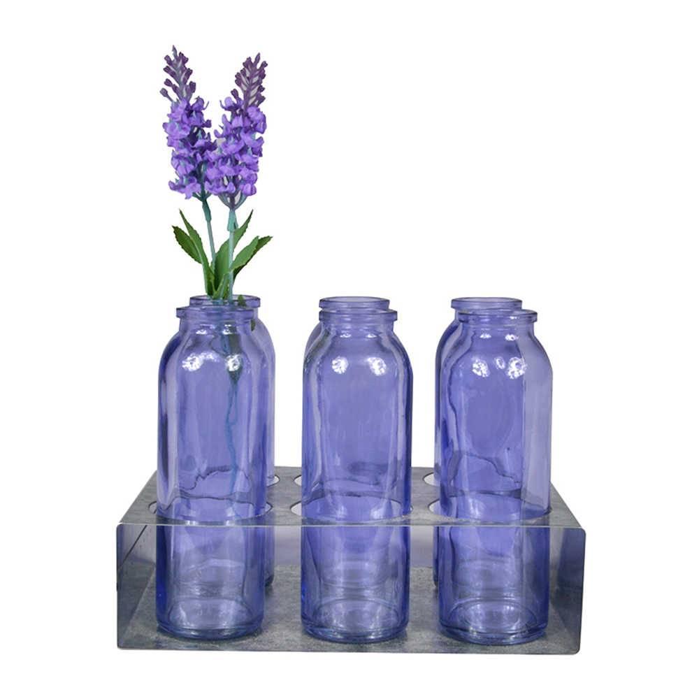 Conjunto 6 Vasos My Garden Roxo com Suporte em Metal - Urban - 16x5,5 cm