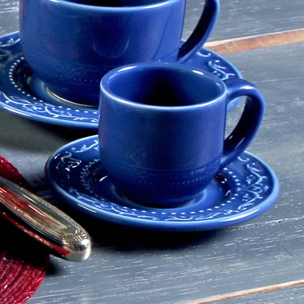 Conjunto 6 Xícaras para Café com Pires Acanthus Azul Navy - em Cerâmica - La Tavola - Porto Brasil - 11x5,5 cm