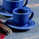 Conjunto 6 Xícaras para Café com Pires Acanthus Azul Navy