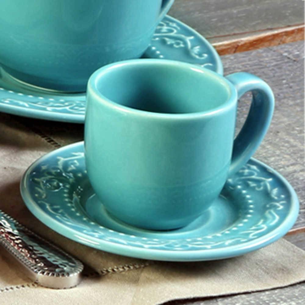 Conjunto 6 Xícaras para Café com Pires Acanthus Azul Poppy - em Cerâmica - La Tavola - Porto Brasil - 11x5,5 cm
