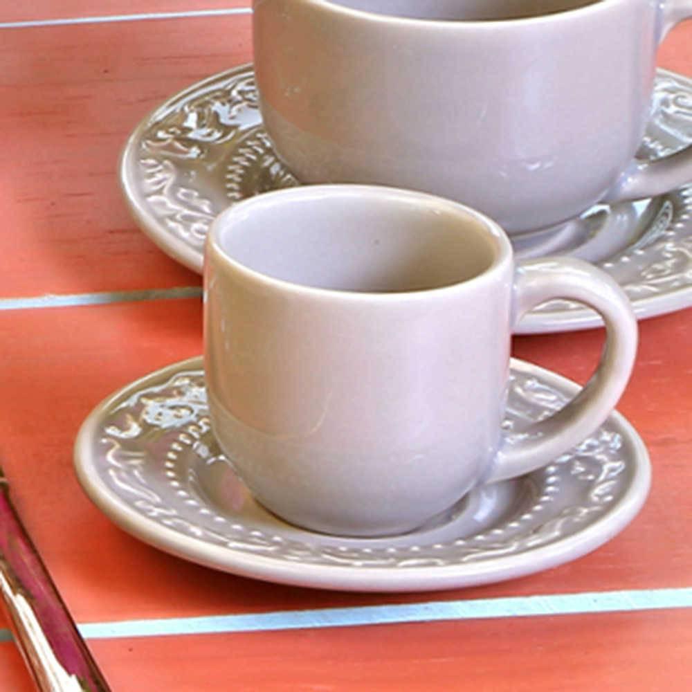 Conjunto 6 Xícaras para Café com Pires Acanthus Cinza Claro - em Cerâmica - La Tavola - Porto Brasil - 11x5,5 cm