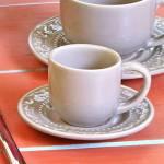 Conjunto 6 Xícaras para Café com Pires Acanthus Cinza Claro