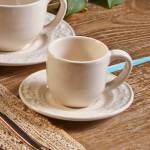 Conjunto 6 Xícaras para Café com Pires Acanthus Cru 11x5,5cm