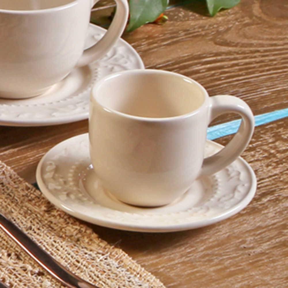 Conjunto 6 Xícaras para Café com Pires Acanthus Cru - em Cerâmica - La Tavola - Porto Brasil - 11x5,5 cm
