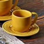Conjunto 6 Xícaras para Café com Pires Acanthus Mostarda