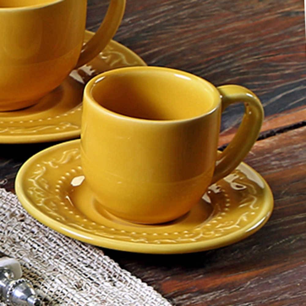 Conjunto 6 Xícaras para Café com Pires Acanthus Mostarda - em Cerâmica - La Tavola - Porto Brasil - 11x5,5 cm