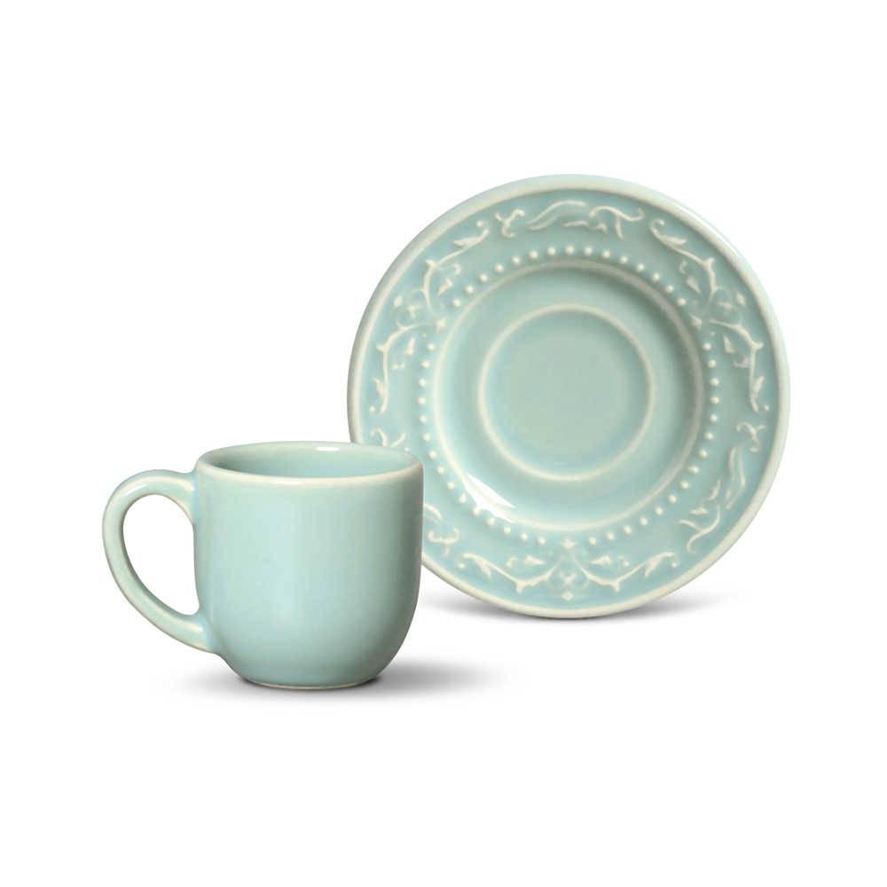 Conjunto 6 Xícaras para Café com Pires Acanthus Verde - em Cerâmica - La Tavola - Porto Brasil - 11x5,5 cm